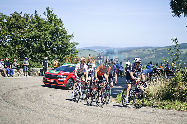 The breakaway with Dimitri Claeys (BEL) Qhubeka NextHash, Mikel Bizkarra (ESP) Euskaltel-Euskadi, Stan Dewulf (BEL) AG2R-Citroën Team, Jetse Bol (NED) Burgos-BH and Quinn Simmons (USA) Trek-Segafredo during Stage 16 of La Vuelta d'Espana 2021, running 180km from Laredo to Santa Cruz de Bezana, Spain. 31st August 2021.     <br /> Picture: Charly Lopez/Unipublic | Cyclefile<br /> <br /> All photos usage must carry mandatory copyright credit (© Cyclefile | Unipublic/Charly Lopez)