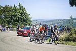 The breakaway with Dimitri Claeys (BEL) Qhubeka NextHash, Mikel Bizkarra (ESP) Euskaltel-Euskadi, Stan Dewulf (BEL) AG2R-Citroën Team, Jetse Bol (NED) Burgos-BH and Quinn Simmons (USA) Trek-Segafredo during Stage 16 of La Vuelta d'Espana 2021, running 180km from Laredo to Santa Cruz de Bezana, Spain. 31st August 2021.     <br /> Picture: Charly Lopez/Unipublic   Cyclefile<br /> <br /> All photos usage must carry mandatory copyright credit (© Cyclefile   Unipublic/Charly Lopez)