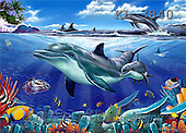 Interlitho, Lorenzo, FANTASY, paintings, dolphins, fish, KL, KL3840,#fantasy# illustrations, pinturas