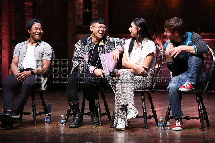 """Daniel Yearwood, Preston Mui, Lauren Boyd and Thayne Jasperson during the Q & A before The Rockefeller Foundation and The Gilder Lehrman Institute of American History sponsored High School student #eduHAM matinee performance of """"Hamilton"""" at the Richard Rodgers Theatre on 3/12/2020 in New York City."""