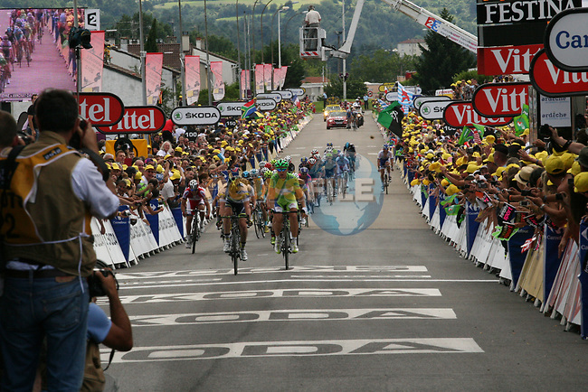 Matthew Harley Goss (AUS) Orica GreenEdge impedes Peter Sagan (SVK) Liquigas-Cannondale on the run into the line at the end of Stage 12 of the 99th edition of the Tour de France 2012, running 148km from Saint-Jean-de-Maurienne to Annonay-Davezieux, France. 13th July 2012.<br /> (Photo by Thomas van Bracht/NEWSFILE)