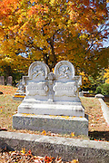 Riverside Cemetery in Newmarket, New Hampshire USA during the autumn months.