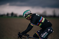 World Champion Peter Sagan (SVK/Bora-Hansgrohe) under a doomy sky<br /> <br /> 109th Milano-Sanremo 2018<br /> Milano > Sanremo (291km)
