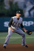 Jose Bautista of the Pittsburgh Pirates during a game against the Los Angeles Angels in a 2007 MLB season game at Angel Stadium in Anaheim, California. (Larry Goren/Four Seam Images)