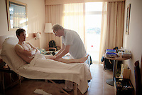 Nick van der Lijke (NLD/LottoJumbo) massaged by soigneur Dries<br /> <br /> Team Lotto Jumbo winter training camp<br /> <br /> January 2015, Mojácar, Spain