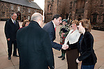 Fiona Hyslop, Cabient Secretary for Culture and External Affairs greets His Excellency Mr.MazenHomoud (Embassy of the Hashemite Kingdom of Jordan) on his arrival at Edinburgh Castle for a reception and dinner hosted by Alex Salmond First Minister of Scotland..Pic Kenny Smith, Kenny Smith Photography.6 Bluebell Grove, Kelty, Fife, KY4 0GX .Tel 07809 450119,