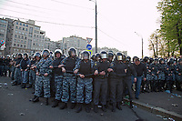 Moscow, Russia, 06/05/2012..Riot police at opposition demonstration against Russian Presidential election results on the eve of Vladimir Putins inauguration as President.