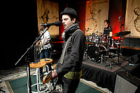 Bedouin Soundclash lead singer Jay Malinowski croons at the recording of AOL Sessions. Starting today, Canadian fans can catch an exclusive online performance of songs from the band's upcoming album, Street Gospels, plus one-on-one interviews and behind-the-scenes action at www.aol.ca/sessions. (CNW Group/AOL Canada Inc.)