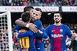 Lionel Messi of FC Barcelona (L) celebrating his score with teammates during the La Liga 2017-18 match between FC Barcelona and RC Celta de Vigo at Camp Nou Stadium on 02 December 2017 in Barcelona, Spain. Photo by Vicens Gimenez / Power Sport Images