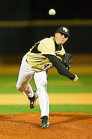 Relief pitcher Nate Jones #42 of the Wake Forest Demon Deacons in action against the Northwestern Wildcats at Gene Hooks Field on February 26, 2011 in Winston-Salem, North Carolina.  Photo by Brian Westerholt / Four Seam Images