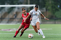 NEWTON, MA - AUGUST 29: Marli Rajacich #8 of Boston University and Jade Ruiters #13 of Boston College battle for the ball during a game between Boston University and Boston College at Newton Campus Field on August 29, 2019 in Newton, Massachusetts.