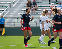 CARY, NC - APRIL 10: Ashley Hatch #33 of the Washington Spirit argues with the referee during a game between Washington Spirit and North Carolina Courage at Sahlen's Stadium at WakeMed Soccer Park on April 10, 2021 in Cary, North Carolina.