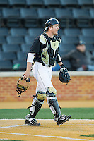 Wake Forest Demon Deacons catcher Garrett Kelly (28) on defense against the Missouri Tigers at Wake Forest Baseball Park on February 22, 2014 in Winston-Salem, North Carolina.  The Demon Deacons defeated the Tigers 1-0.  (Brian Westerholt/Four Seam Images)