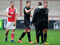 Lincoln City's Joe Walsh fist bumps with Michael Appleton<br /> <br /> Photographer Chris Vaughan/CameraSport<br /> <br /> The EFL Sky Bet League One - Fleetwood Town v Lincoln City - Saturday 17th October 2020 - Highbury Stadium - Fleetwood<br /> <br /> World Copyright © 2020 CameraSport. All rights reserved. 43 Linden Ave. Countesthorpe. Leicester. England. LE8 5PG - Tel: +44 (0) 116 277 4147 - admin@camerasport.com - www.camerasport.com