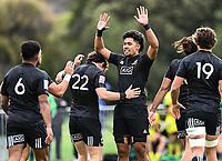 22nd May 2021; Grammar Tec, Auckland New Zealand; All Blacks Sevens versus Australia, Trans-Tasman Sevens;  Kitiona Vai celebrates his try with team mates.
