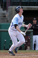 Colin Moran, #18, of the North Carolina Tar Heels bats against the Missouri Tigers at Dedeaux Field on February 20, 2011 in Los Angeles,California. Photo by Larry Goren/Four Seam Images