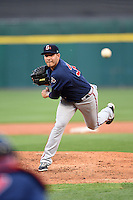 Gwinnett Braves pitcher Hector Daniel Rodriguez (34) delivers a pitch during a game against the Buffalo Bisons on May 13, 2014 at Coca-Cola Field in Buffalo, New  York.  Gwinnett defeated Buffalo 3-2.  (Mike Janes/Four Seam Images)