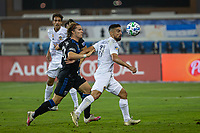 SAN JOSE, CA - SEPTEMBER 13: Sebastian Lletget #11 of the L.A. Galaxy and Florian Jungwirth #23 of the San Jose Earthquakes battle for the ball during a game between Los Angeles Galaxy and San Jose Earthquakes at Earthquakes Stadium on September 13, 2020 in San Jose, California.