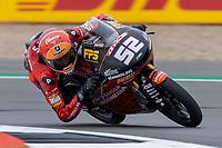 27th August 2021; Silverstone Circuit, Silverstone, Northamptonshire, England; MotoGP British Grand Prix, Practice Day; mIndonedian Racing Gresini Moto3 rider Jeremy Alcoba on his Honda NSF250RW in the Moto3 category