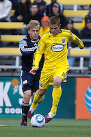8 MAY 2010:  New England Revolutions' Darrius Barnes (25) and Robbie Rogers of the Columbus Crew (18) during MLS soccer game between New England Revolution vs Columbus Crew at Crew Stadium in Columbus, Ohio on May 8, 2010. The Columbus defeated New England 3-2.
