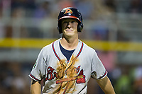Drew Waters (12) of the Danville Braves walks back to the dugout during the game against the Burlington Royals at Burlington Athletic Stadium on August 12, 2017 in Burlington, North Carolina.  The Braves defeated the Royals 5-3.  (Brian Westerholt/Four Seam Images)