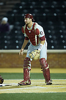 Florida State Seminoles catcher Cal Raleigh (35) on defense against the Wake Forest Demon Deacons at David F. Couch Ballpark on March 9, 2018 in  Winston-Salem, North Carolina.  The Seminoles defeated the Demon Deacons 7-3.  (Brian Westerholt/Four Seam Images)