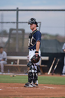 AZL Padres 2 catcher Stephen McGee (34) in a rehab appearance during an Arizona League game against the AZL Padres 1 at Peoria Sports Complex on July 14, 2018 in Peoria, Arizona. The AZL Padres 1 defeated the AZL Padres 2 4-0. (Zachary Lucy/Four Seam Images)