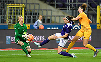 20190912 - Anderlecht , BELGIUM : Anderlecht's Laura Rus pictured in a duel with Biik's goalkeeper Oksana Zheleznyak during the female soccer game between the Belgian Royal Sporting Club Anderlecht Dames  and BIIK Kazygurt from Shymkent in Kazachstan, this is the first leg in the round of 32 of the UEFA Women's Champions League season 2019-20120, Thursday 12 th September 2019 at the Lotto Park in Anderlecht , Belgium. PHOTO SPORTPIX.BE | DAVID CATRY