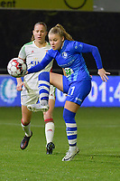 Gent's Imani Prez (11) with OHL's Lenie Onzia (L) pictured during a female soccer game between  AA Gent Ladies and Oud Heverlee Leuven on the 9th matchday of the 2020 - 2021 season of Belgian Scooore Womens Super League , friday 11 th of December 2020  in Oostakker , Belgium . PHOTO SPORTPIX.BE | SPP | DIRK VUYLSTEKE