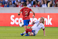 HOUSTON, TX - FEBRUARY 03: Maria Paula Coto #3 of Costa Rica is tackled by Linsey Horan #9 of the United States during a game between Costa Rica and USWNT at BBVA Stadium on February 03, 2020 in Houston, Texas.