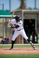 GCL Marlins Lorenzo Hampton (38) at bat during a Gulf Coast League game against the GCL Astros on August 8, 2019 at the Roger Dean Chevrolet Stadium Complex in Jupiter, Florida.  GCL Astros defeated GCL Marlins 4-2.  (Mike Janes/Four Seam Images)