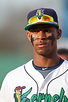 Cedar Rapids Kernels outfielder Byron Buxton #7 looks on during a game against the Lansing Lugnuts at Veterans Memorial Stadium on April 29, 2013 in Cedar Rapids, Iowa. (Brace Hemmelgarn/Four Seam Images)