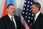 United States President Barack Obama enters a bilateral meeting with President Ilham Aliyev of Azerbaijan, Friday, September 24, 2010 in New York City. Obama has been in New York since Wednesday attending the annual General Assembly at the United Nations, where yesterday he stressed the need for a resolution between Israel and Palestine, and a renewed international effort to keep Iran from attaining nuclear weapons.  .Credit: Spencer Platt - Pool via CNP