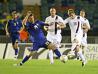 Markus Rosenberg and Bobby Convey fight for the ball. Sweden defeated the USA, 1-0, in an international friendly in Gothenburg, Sweden on August 22, 2007.