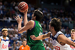Real Madrid's player Sergio Llull and Unicaja Malaga's player Carlos Suarez during match of Liga Endesa at Barclaycard Center in Madrid. September 30, Spain. 2016. (ALTERPHOTOS/BorjaB.Hojas)