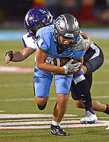Fayetteville's Luke Janski (4) tackles Fort Smith Southside's Greyson York (80) after a reception on Friday, Oct. 8, 2021 in Fort Smith. (Special to NWA Democrat Gazette/Brian Sanderford)