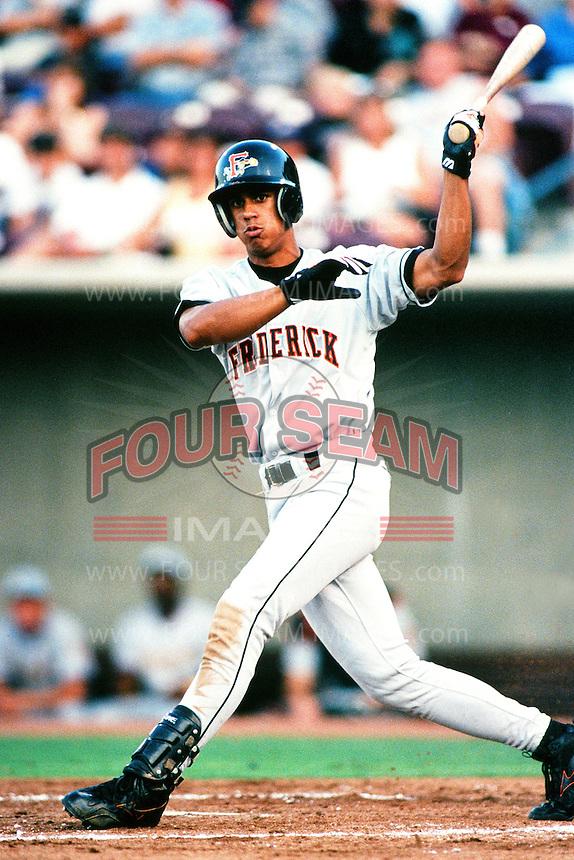 Luis Matos of the Frederick Keys during the California League / Carolina League All Star Game at The Diamond circa 1999 in Lake Elsinore, California. (Larry Goren/Four Seam Images)
