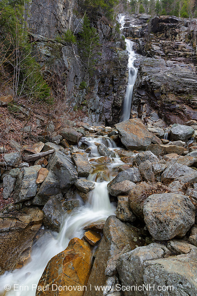 Silver Cascade in Crawford Notch State Park in the New Hampshire White Mountains during the spring months.