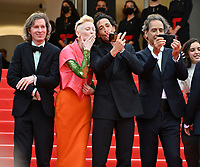 CANNES, FRANCE. July 12, 2021: Wes Anderson, Tilda Swinton,  Adrien Brody & Alexandre Desplat at the gala premiere of Wes Anderson's The French Despatch at the 74th Festival de Cannes.<br /> Picture: Paul Smith / Featureflash