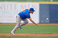 South Bend Cubs shortstop Rafael Narea (2) flips the ball to second base to start a double play during the first game of a doubleheader against the Lake County Captains on May 16, 2018 at Classic Park in Eastlake, Ohio.  South Bend defeated Lake County 6-4 in twelve innings.  (Mike Janes/Four Seam Images)