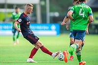 LAKE BUENA VISTA, FL - JULY 14: Fabian Herbers #21 of the Chicago Fire kicks the ball during a game between Seattle Sounders FC and Chicago Fire at Wide World of Sports on July 14, 2020 in Lake Buena Vista, Florida.