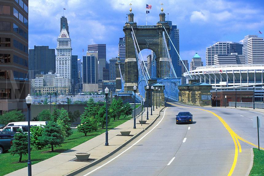 view from Covington Kentucky to Roebling Bridge over Ohio River to Cincinnati Ohio