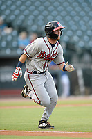 Second baseman Greg Cullen (18) of the Rome Braves runs out a batted ball in a game against the Columbia Fireflies on Tuesday, June 4, 2019, at Segra Park in Columbia, South Carolina. Columbia won, 3-2. (Tom Priddy/Four Seam Images)