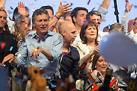 Argentina elected president Mauricio Macri sings and dance celebrating his victory in the ballotage against  government candidate Daniel Scioli,  in Buenos Aires Sunday October 22 2015. Mauricio Macri, mayor of Buenos Aires , will close down a 12 year era of Nestor and Cristina Kirchner ruling Argentina.