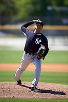 New York Yankees Anyelo Gomez (31) during a minor league Spring Training game against the Toronto Blue Jays on March 22, 2016 at Englebert Complex in Dunedin, Florida.  (Mike Janes/Four Seam Images)