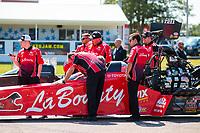 Aug 18, 2019; Brainerd, MN, USA; Crew members for NHRA top fuel driver Doug Kalitta during the Lucas Oil Nationals at Brainerd International Raceway. Mandatory Credit: Mark J. Rebilas-USA TODAY Sports