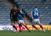 Milton Keynes Dons' Carlton Morris (left) under pressure from Portsmouth's Sean Raggett (centre) and Michael Jacobs (right) <br /> <br /> Photographer David Horton/CameraSport<br /> <br /> The EFL Sky Bet League One - Portsmouth v Milton Keynes Dons - Saturday 10th October 2020 - Fratton Park - Portsmouth<br /> <br /> World Copyright © 2020 CameraSport. All rights reserved. 43 Linden Ave. Countesthorpe. Leicester. England. LE8 5PG - Tel: +44 (0) 116 277 4147 - admin@camerasport.com - www.camerasport.com