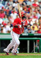 5 July 2009: Washington Nationals' shortstop Cristian Guzman in action against the Atlanta Braves at Nationals Park in Washington, DC. The Nationals defeated the Braves 5-3 to take the rubber game of their 3-game weekend series. Mandatory Credit: Ed Wolfstein Photo