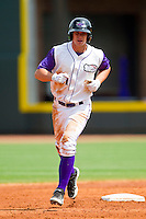 Mark Haddow (21) of the Winston-Salem Dash rounds second base after hitting a solo home run in the 3rd inning against the Wilmington Blue Rocks at BB&T Ballpark on April 21, 2013 in Winston-Salem, North Carolina.  The Blue Rocks defeated the Dash 5-3.  (Brian Westerholt/Four Seam Images)