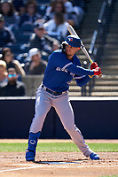 Toronto Blue Jays Cavan Biggio (8) bats during a Spring Training game against the New York Yankees on February 22, 2020 at the George M. Steinbrenner Field in Tampa, Florida.  (Mike Janes/Four Seam Images)